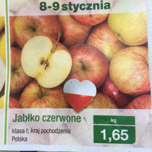 Jabłko czerwone Aldi 1,65zł/kg