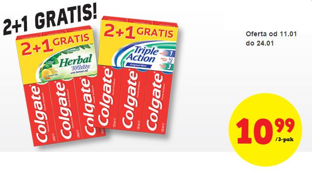 Trzy tubki pasty do zębów Colgate (125ml każda) w cenie 10,99zł @ Biedronka