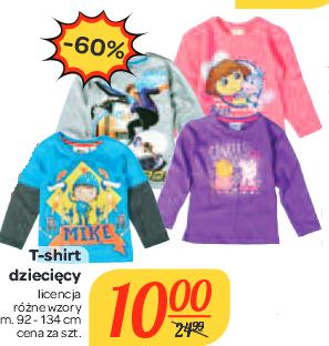 T-shirty dziecięce z motywami bajkowymi w cenie 10zł @ Carrefour