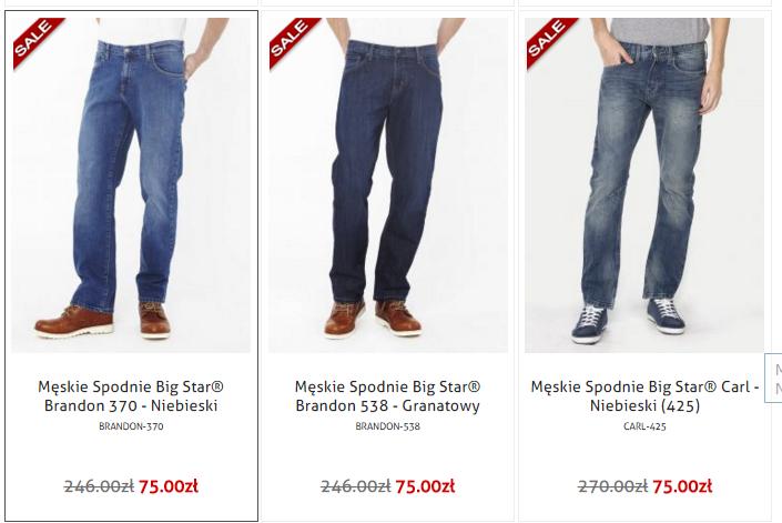 Wszystkie modele spodni marki BIG STAR (damskie i męskie) w równej cenie 75zł! @ Jeans24h