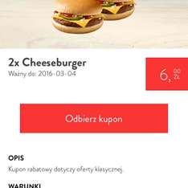 2x Cheeseburger ponownie w kuponach @McD