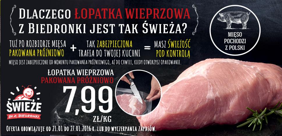 Łopatka wieprzowa za 7,99zł/kg @ Biedronka