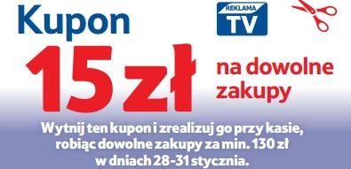 Rabat -15 zł przy zakupach za min.130 zł 28-31.01.16 @TESCO sklepy stacjonarne