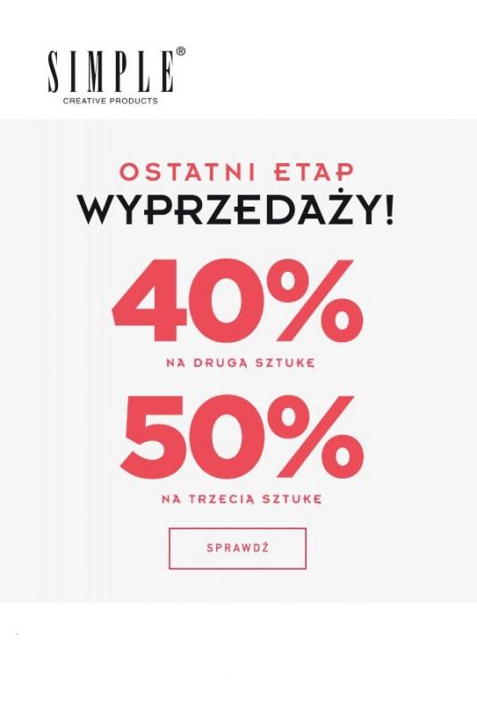 -40% na drugą sztukę, -50% na trzecią sztukę @ Simple