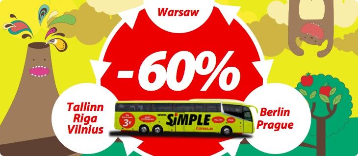 Kod na -60% na przejazdy autokarami Simple Express (Praga, Berlin, Wilno, Ryga, Tallin) od 24zł @ WakacyjniPiraci