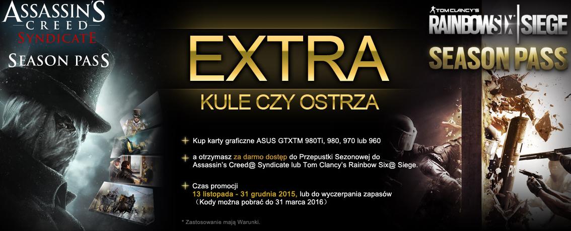 Season Pass do Assasins Creed Syndicate lub Rainbow Six Siege za darmo dla posiadaczy kart Asus GTX 970 GTX980 GTX980Ti