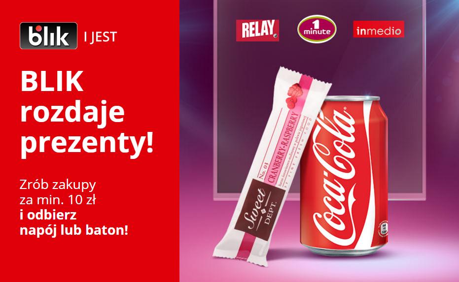 Zrób zakupy za 10zł, a batona lub puszkę Coca-Coli otrzymasz gratis @ Relay, 1Minute, Inmedio