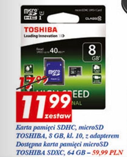 Toshiba MicroSDXC 64GB (Class10, UHS-I) za 59,99zł @ Auchan