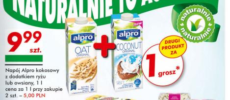 2x 1L napoju Alpro (owsianego lub kokosowego z dodatkiem ryżu) za 10zł @ Auchan