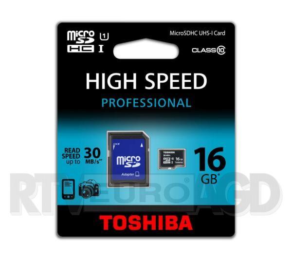 TYLKO DZISIAJ! Toshiba microSDHC UHS-I 16GB + adapter za 34,99 zł @ EURO