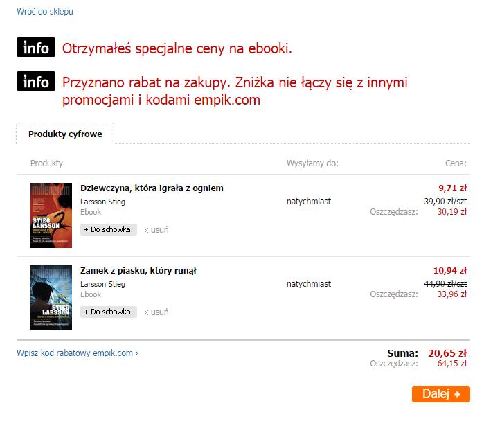 Kod zniżkowy na 70% na wybrane ebooki (Stieg Larsson i inne) od 4,91zł @ Empik