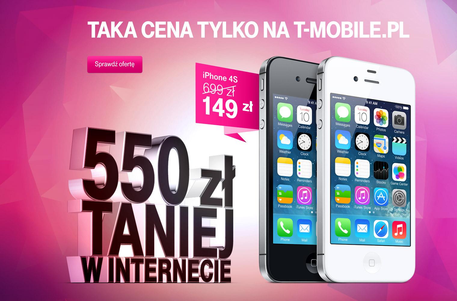 550 ZŁ TANIEJ TYLKO W INTERNECIE !!! IPHONE 4S ZA 149,01 ZŁ w abonamencie za 69,99zł miesięcznie!!! @ T-Mobile