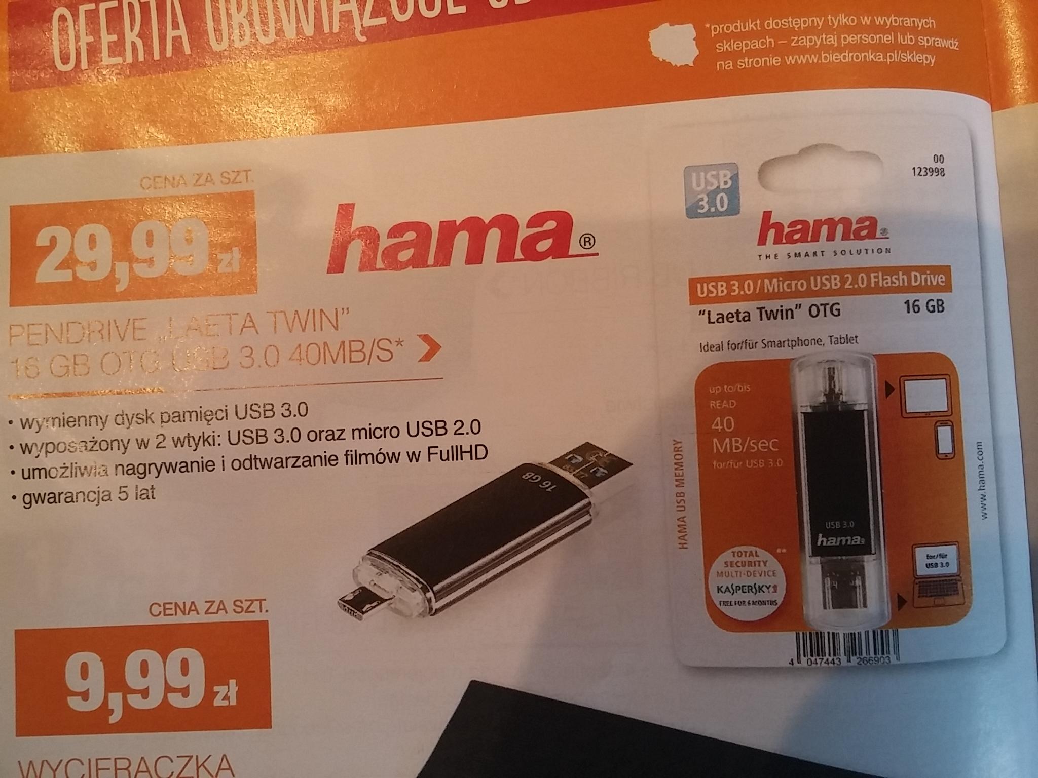Pendrive 16GB OTG USB 3.0 40MB/s @ Biedronka