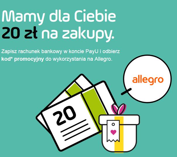 Kupon 20 zł na Allegro (zakupy za min. 50zł) za założenie konta PayU!