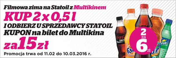 Kup 2 butelki napojów (Cola, Fanta, Sprite) za 6zł, a bilet do Multikina kupisz za 15zł @ Statoil