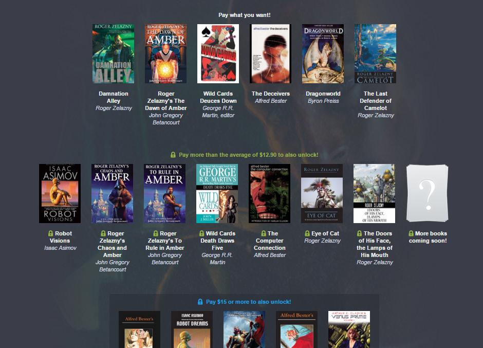 Ebooki - pakiet klasyków SF od 4 groszy (Zelazny, Asimov, Bester) @ Humble Bundle