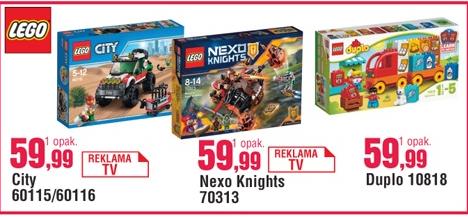 Zestawy LEGO (City, Nexo Knights, Duplo) w cenie 59,99zł @ E.Leclerc