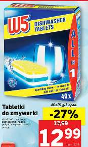Tabletki do zmywarek W5 All in 1 - 40szt. za 12,99zł @ Lidl