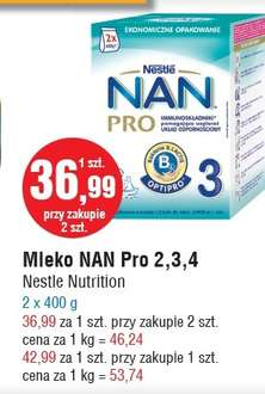 Mleko Nestle NAN Pro 2x400g za 36,99zł @ E.Leclerc