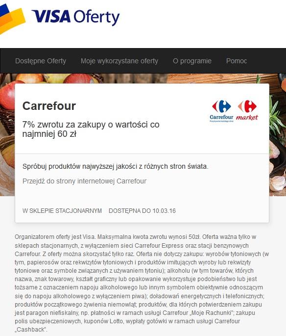 Visa Oferty @ Carrefour - 7% zwrotu za zakupy o wartości co najmniej 60 zł