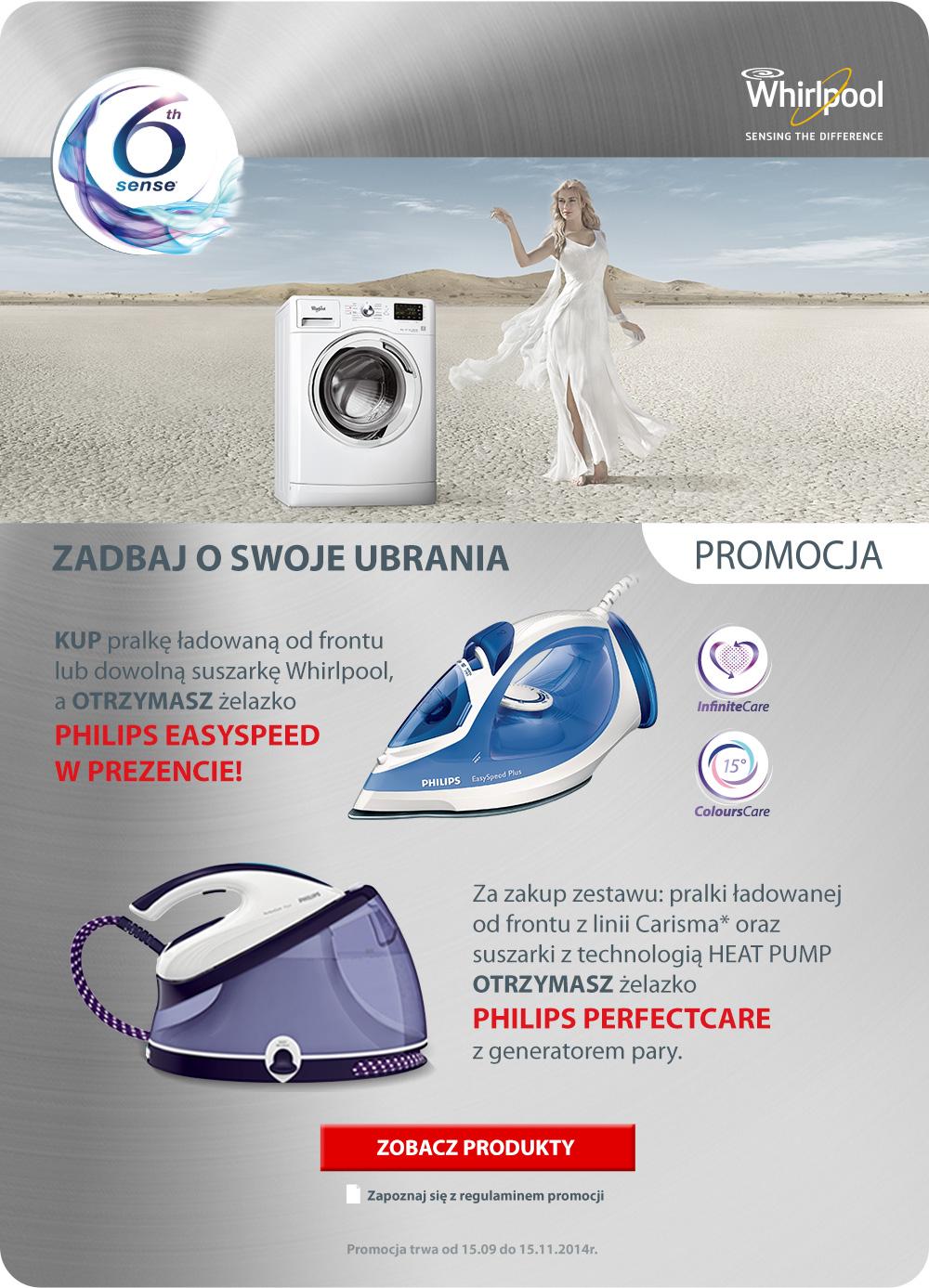 Żelazko Philips Easyspeed w prezencie przy zakupie pralki lub suszarki firmy Whirlpool