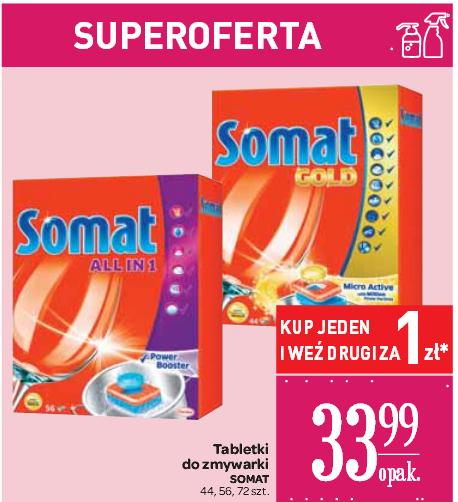 Drugie opakowanie tabletek do zmywarek Somat za 1zł @ Carrefour