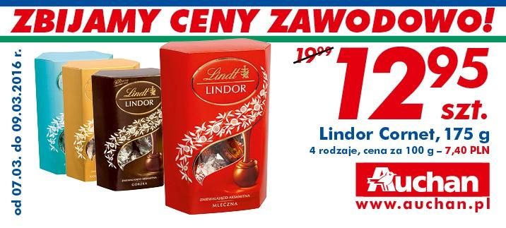 Praliny Lindor Cornet 175g (różne rodzaje) za 12,95zł @ Auchan