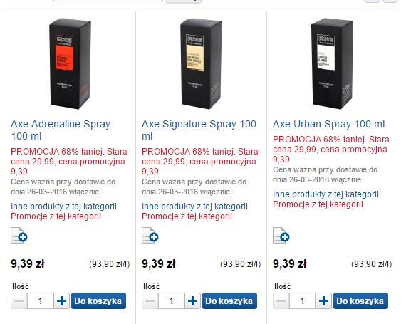 Męskie zapachy Axe Spray 100ml za 9,39zł (zamiast 29,99zł) @ Tesco eZakupy