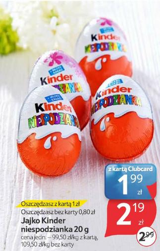 Jajko Kinder Niespodzianka 20g za 2,19zł (możliwe 1,99zł) @ Tesco