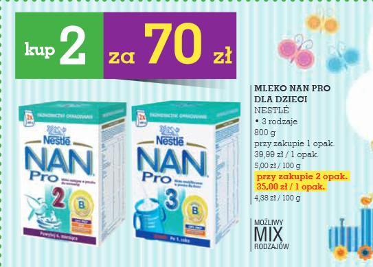 Mleko Nestle NAN Pro 2x800g za 70zł @ Intermarche