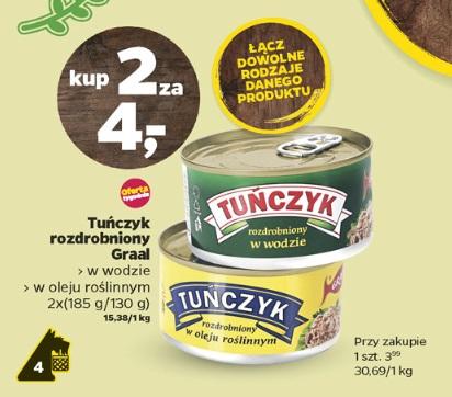 Tuńczyk Graal w oleju lub wodzie 2 szt. za 4 zł @ Netto