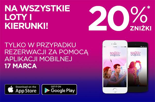Bilety w Wizzair tańsze o 20% dla użytkowników aplikacji mobilnej