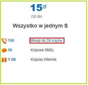 """Skromny pakiet minut międzynarodowych od LycaMobile """"Wszystko w jednym S"""" za 15zł. 150 minut do 39 krajów, 50 sms do Polski i 1GB krajowego netu."""