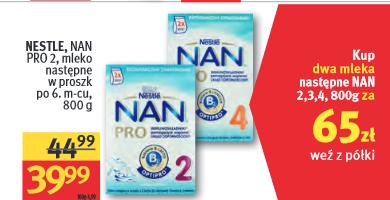 Mleko Nestle NAN Pro 2x800g za 65zł @ Rossmann