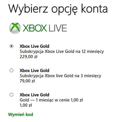 Xbox Gold za 1zł na miesiąc + darmowe gry