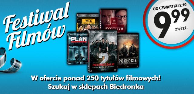 Festiwal filmów DVD (Wilk z Wall Street, Igrzyska śmierci, Niezniszczalni 2, Pokłosie i inne) za 9,99 zł @ Biedronka