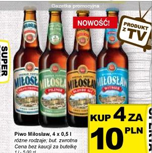 4 piwa Miłosław (w tym 2 nowe) za 10zł w Żabce