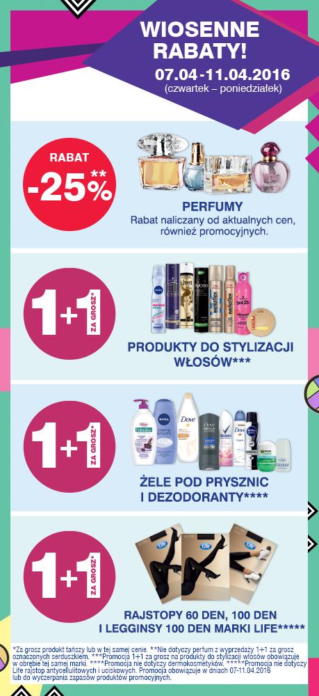 Przy zakupie produktów: do stylizacji włosów, żeli pod prysznic lub dezodorantów, wybranych rajstop DRUGI produkt otrzymamy za 1 grosz @ Super-Pharm