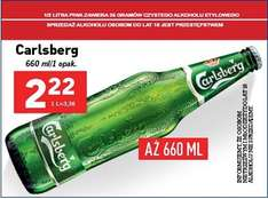 Carlsberg 0,66l za 2.22zł