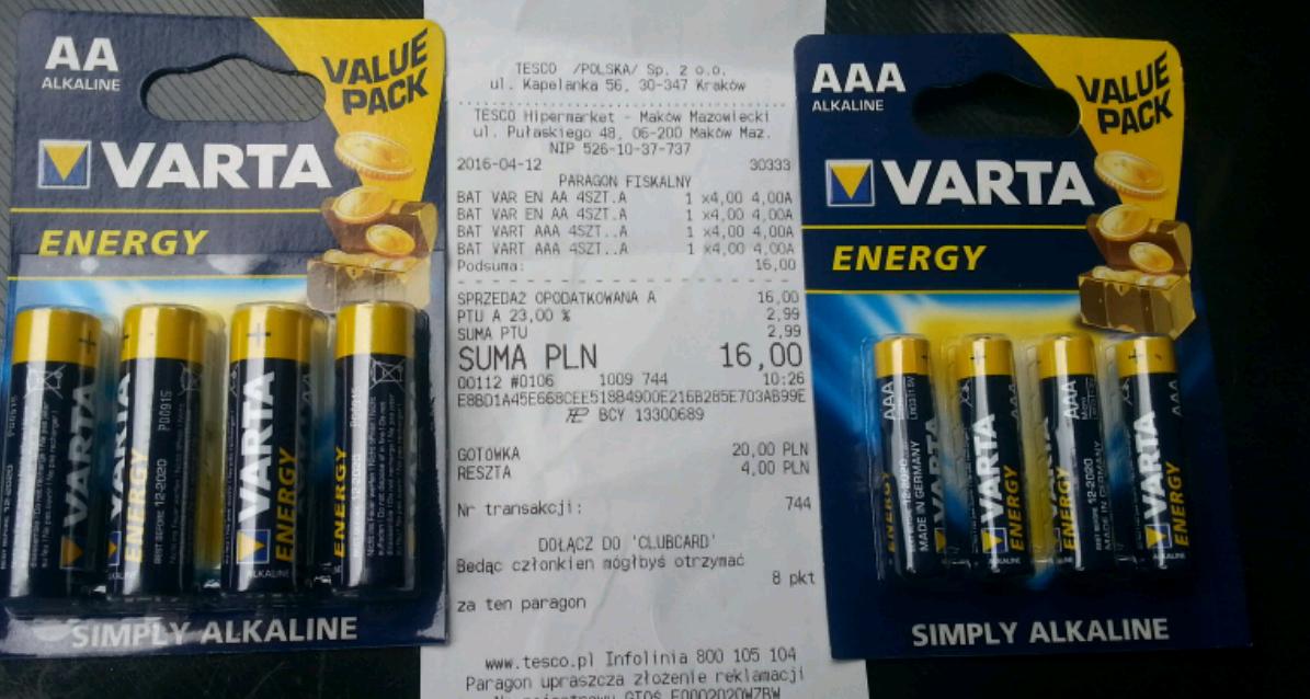 Varta Energy Alkaline (AA)(AAA) 4 szt. za 4zł
