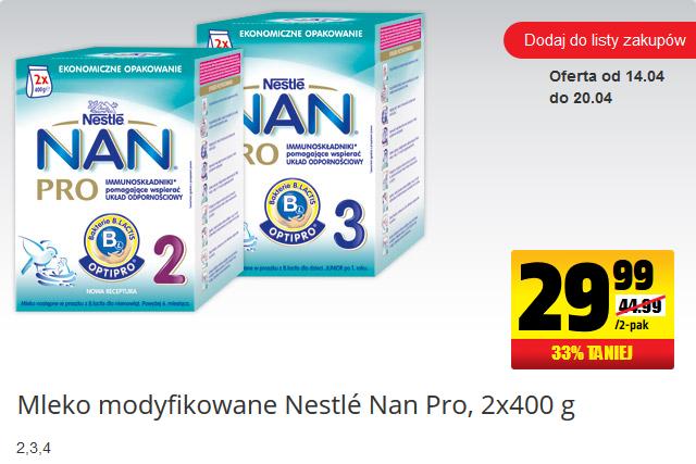 Mleko Nestle NAN Pro 800g za 29,99zł !!! @ Biedronka