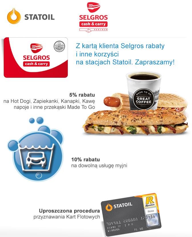 Rabaty dla posiadaczy kart Selgros: -5% na przekąski i -10% na dowolną usługę myjni @ Statoil