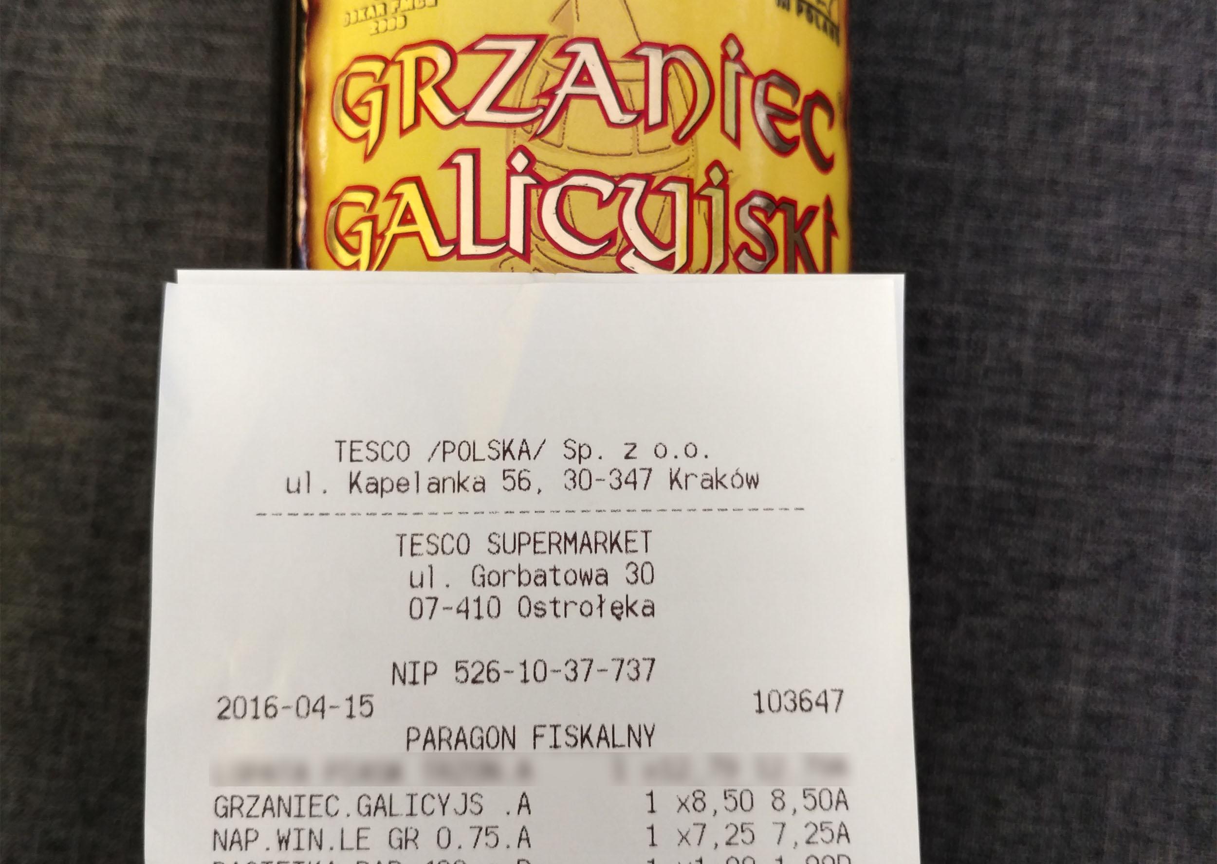 Grzaniec Galicyjski 1L za 8,50zł, Letien Grejpfrut 0,75l za 7,50zł @ Tesco