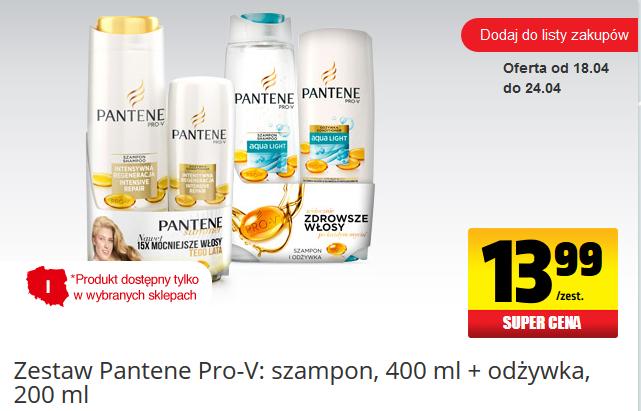 Zestaw Pantene - szampon (400ml)+odżywka(200ml) za 13,99zł @ Biedronka