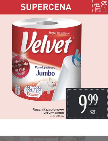 Ręcznik papierowy Velvet jumbo (600listków) za 9,99zł @ Carrefour