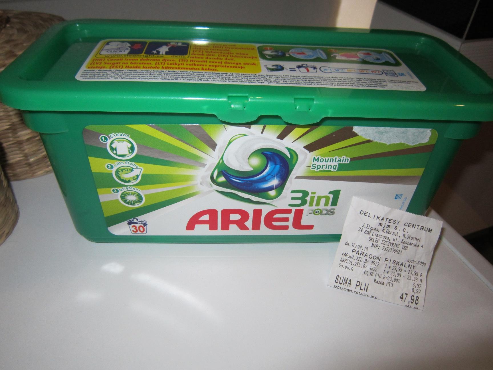 Kapsułki  do prania Ariel Mountain- Spring 3in1 30 szt za 23.99zł @ Delikatesy Centrum