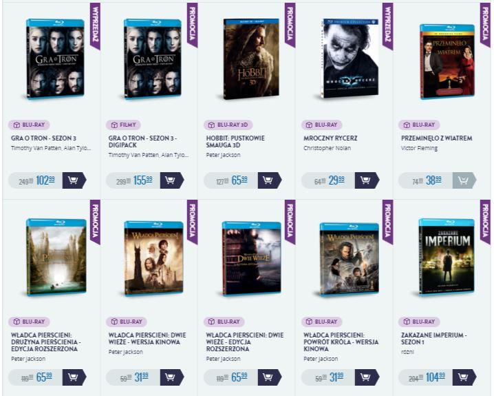 Fimy na Blu-Ray w świetnych cenach np. Władca Pierścieni za 31,99zł, Gra o Tron za 102,99zł, Maczeta za 14,99zł i inne @ CDP