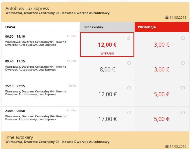 Bilety z Warszawy do Kowna (Litwa) od 1€ @ Lux Express