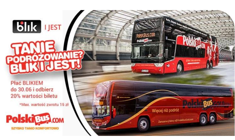 Zwrot -20% wartości biletu przy płatności BLIKiem @ Polski Bus
