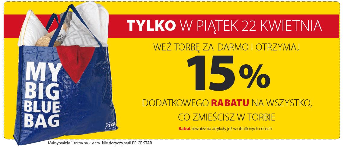 Rabat -15% na torbę zakupów @ Jysk